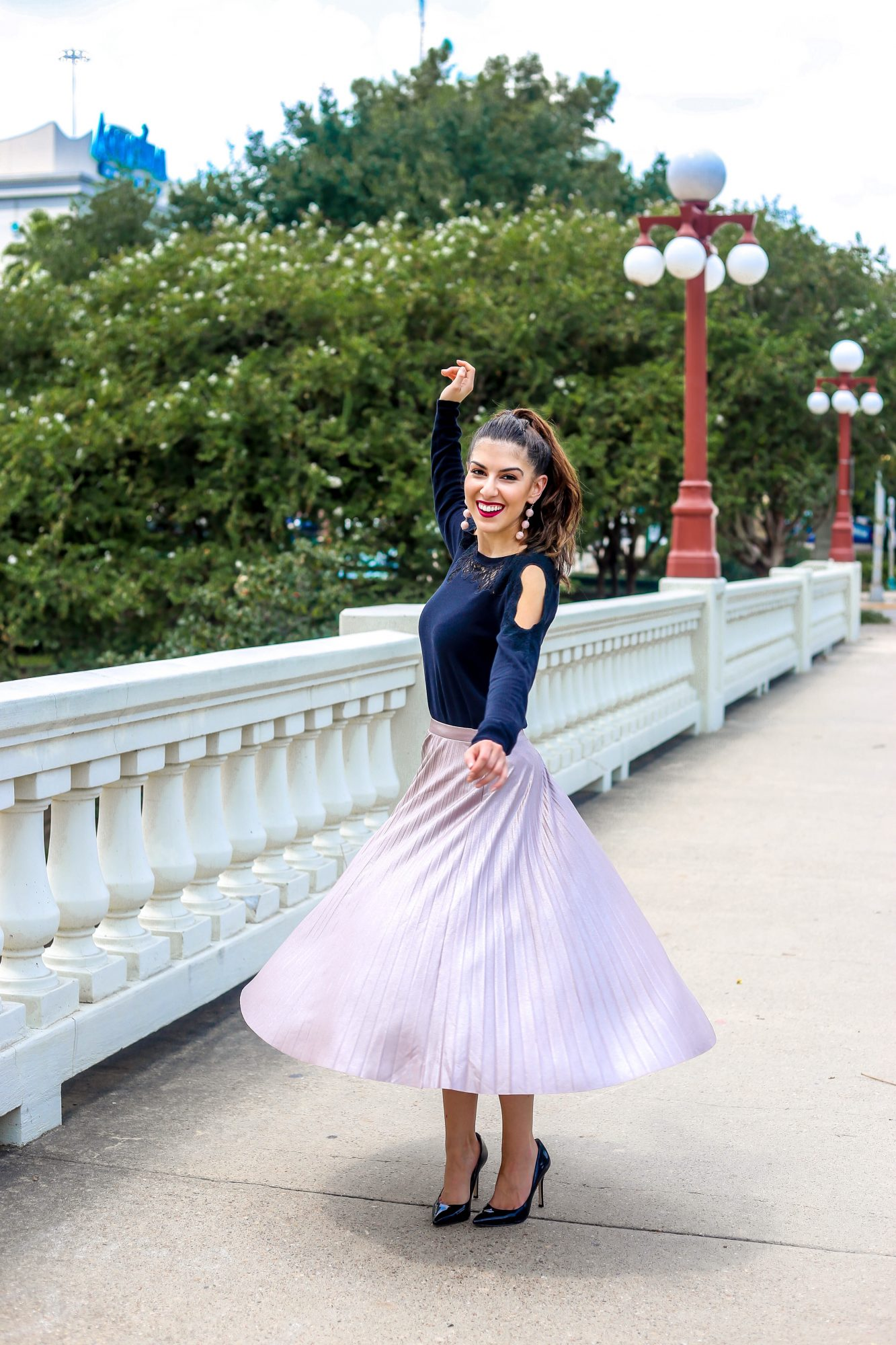 Blush Pleated Midi Skirt You Can Restyle Year Round