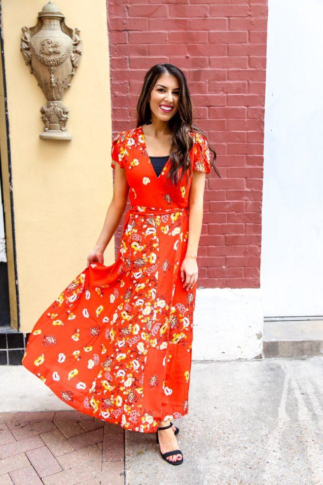 Gorgeous Red Floral Maxi Wrap Dress Southern